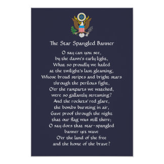 Star Spangled Banner Lyrics Poster