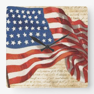 Star Spangled Banner Square Wall Clock
