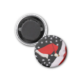 Star-Spangled Christmas 1 Inch Round Magnet
