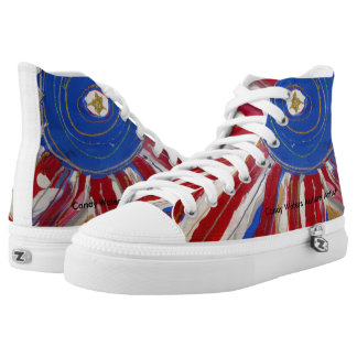 """""""Star-Spangled Sun"""" by Candy Waters Autism Artist High Tops"""