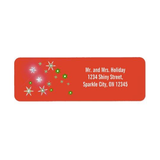 Star Sparkle Holiday Red Return Address Label