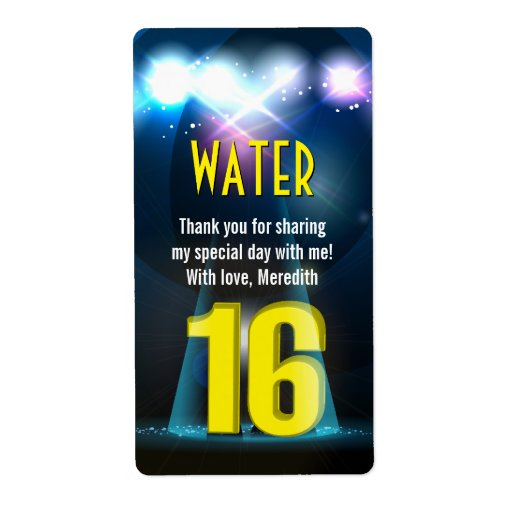 Star Spotlight Yellow Sweet 16 Favor Personalized Shipping Label