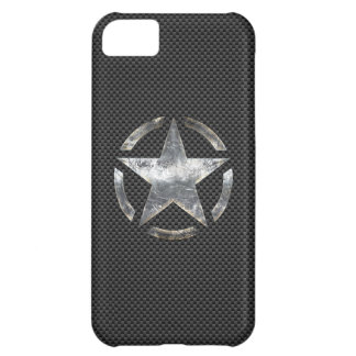 Star Stencil Vintage Decal Carbon Fiber Style Case For iPhone 5C