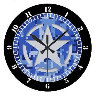 Star Stencil Vintage Navy Blue Dial Large Clock