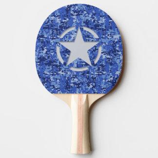 Star Stencil Vintage Navy Blue Digital Camo Ping-Pong Paddle
