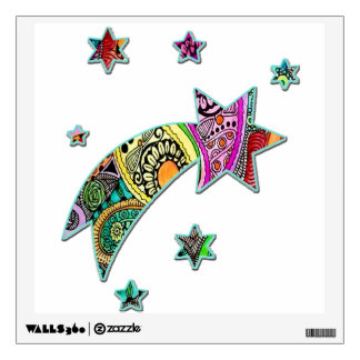 Star Streaking to the Right Colorful Wall Decal