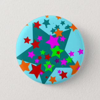 Star Struck Fun Stars Teal Red Pink Lime Orange 2 Inch Round Button