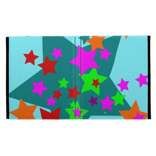 Star Struck Fun Stars Teal Red Pink Lime Orange iPad Folio Cover