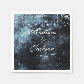Star Struck Watercolor Celestial Monogram Wedding Paper Napkins