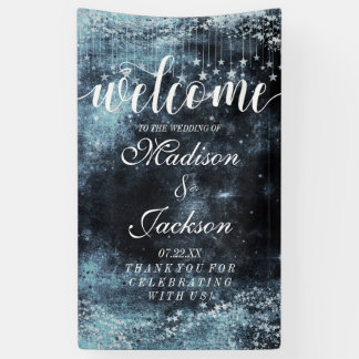 Star Struck Watercolor Celestial Wedding Welcome Banner
