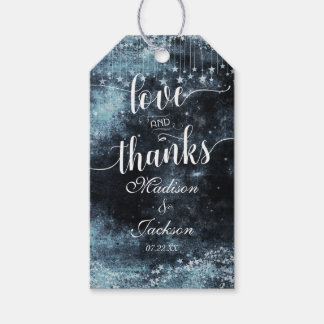 Star Struck Watercolor Night Wedding Love & Thanks Gift Tags