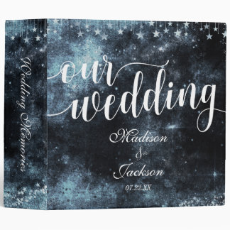 Star Struck Watercolor Night Wedding Photo Album Binder