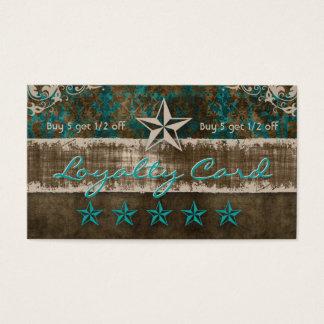 Star Suede Loyalty Card Teal Brown Western