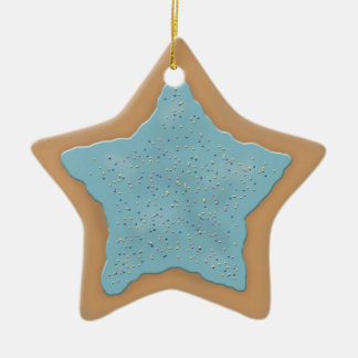 Star Sugar Cookie with Blue Icing Ceramic Ornament