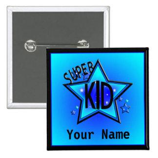 Star Super Kid Custom Name Blue Button
