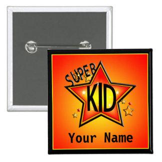 Star Super Kid Custom Name Button
