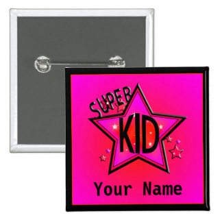 Star Super Kid Custom Pink Name Button