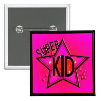 Star Super Kid Pink Sq Button