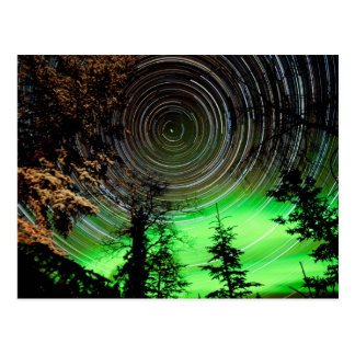 Star Trails and Northern Lights Aurora borealis Postcard