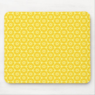 Star Wheel Pattern - Amber on Pale Yellow Mouse Pad