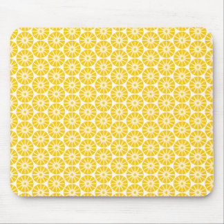 Star Wheel Pattern - Amber on White Mouse Pad