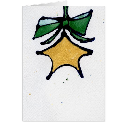 Star with Green Bow Card