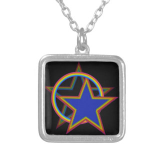 Star with shadow silver plated necklace