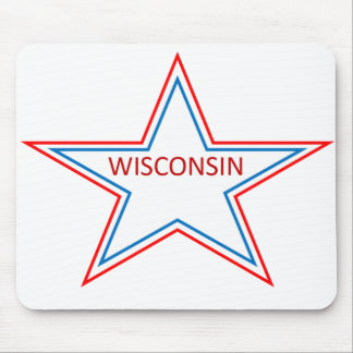 Star with Wisconsin in it. Mouse Pad