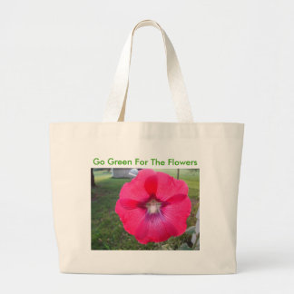 Star Within Hollyhock, Go Green For The Flowers Large Tote Bag