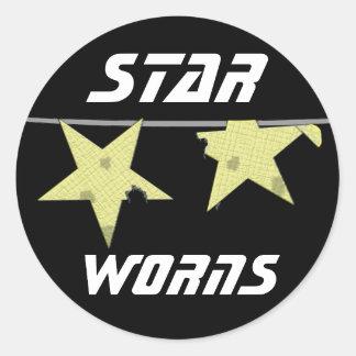 Star Worns Humor Round Sticker