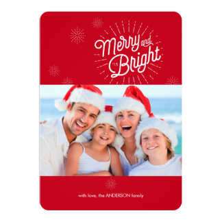 "Starburst 1 Photo Red Holiday Card 5"" X 7"" Invitation Card"
