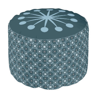 Starburst and Lines Mid Century Pattern Blue Pouf