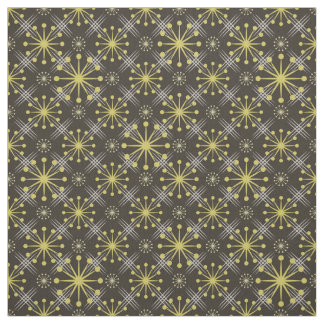 Starburst and Lines Mid Century Pattern Earth Hues Fabric