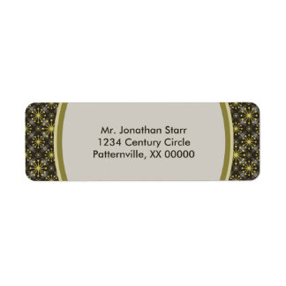Starburst and Lines Mid Century Pattern Earth Hues Return Address Label