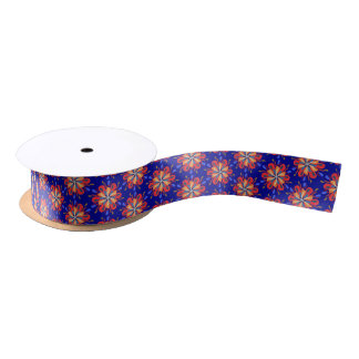Starburst flowers in bold red and blue satin ribbon