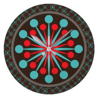 Starburst Mid Century Modern Red Turquoise Clocks