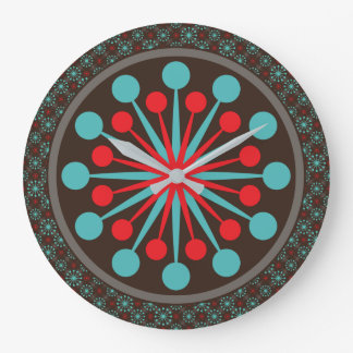 Starburst Mid Century Modern Red Turquoise Large Clock