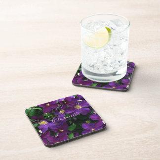 Starburst Purple Clematis Drink Coaster
