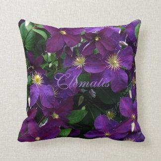 Starburst Purple Clematis Throw Pillow