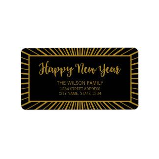 Starburst Script Black Happy New Year Address Label