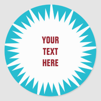 Starburst - white with custom text & background classic round sticker
