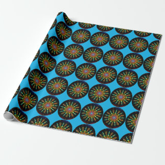 Starbursts on azure blue wrapping paper