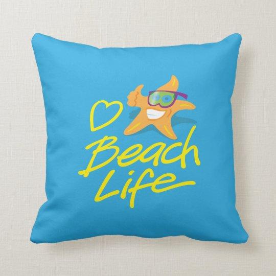StarDude Heart Beach Life Reversible Throw Pillow