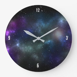 Starfield with Multicolored Cosmic Dust Large Clock
