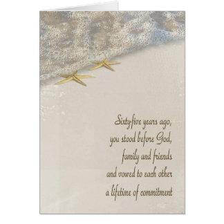 Starfish 65th Anniversary Greeting Card