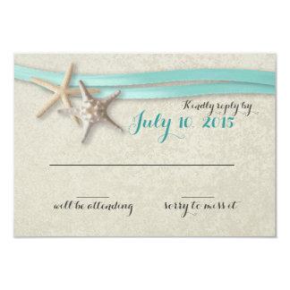 "Starfish and Aqua Ribbon Beach Response 3.5"" X 5"" Invitation Card"