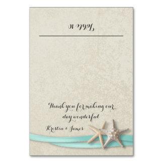 Starfish and Aqua Ribbon Place Card Table Card