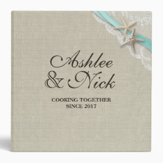 Starfish and Aqua Ribbon Printed Recipe Binders