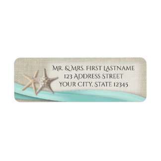 Starfish and Aqua Ribbon Return Address Label
