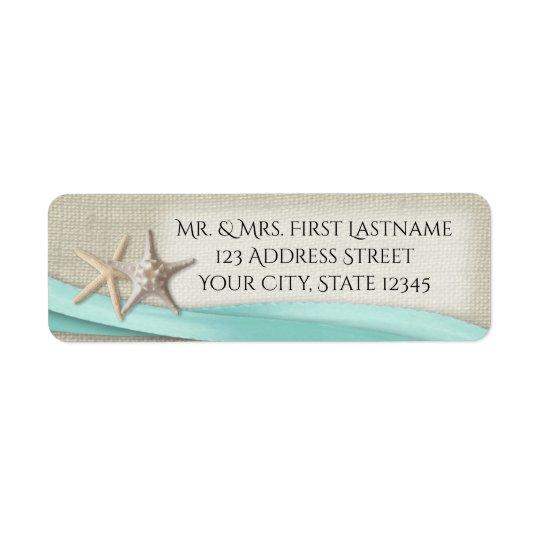 Starfish and Aqua Ribbon Return Address Label